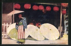 AK japanisches Mädchen mit Sonnenschirm vor auf dem Boden liegende Sonnenschirme, Lampions
