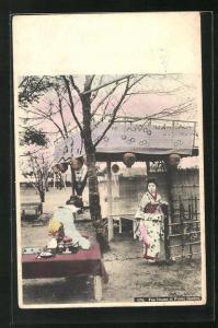 AK Geishas im Teehaus mit Baldachin und gedecktem Tisch, Tea House at Public Garden