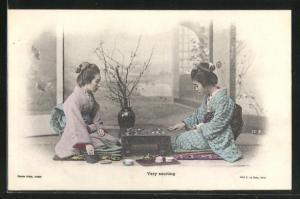 AK Geishas spielen Shogi ein Brettspiel, Very exciting, Shogi