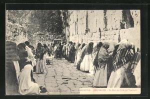AK Jerusalem, Frauen und Männer beten an der Klagemauer, Le Mur des Juifs un Vendredi