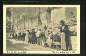 AK Jerusalem, Männer beten an der Klagemauer, The Jews walling place a friday