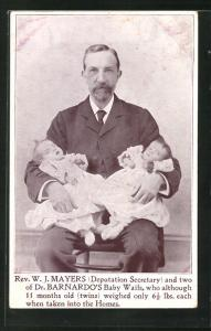 AK Rev. W. J. Mayers and two of Dr. Barnardo`s Baby Waifs