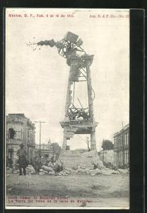 AK México, Clock Tower in Bucareli Street, Mexikanische Revolition 1913