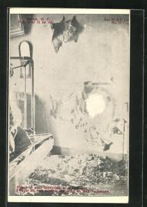 AK México, Effect of shell exploiting in a Bedroom, Mexikanische Revolition 1913