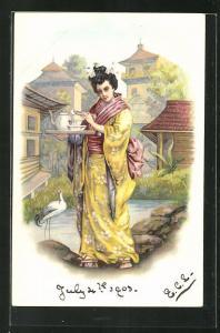 Lithographie Geisha beim Tee, Jugendstil