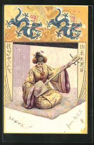 Präge-AK Geisha mit Musikinstrument