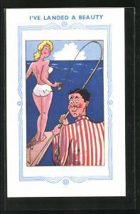 AK I've Landed A Beauty, Angler verfängt sich mit seiner Angel in der Bikinihose einer jungen Dame