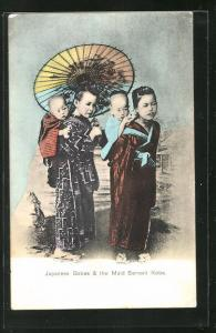 AK Japanese Babes & the Maid Sevant Kobe, Geisha