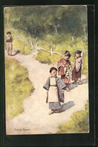 AK Young Japan, japanische Kinder in Tracht