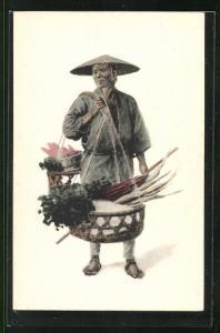 AK japanischer Gemüsehändler