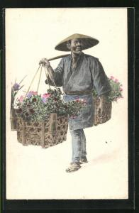 AK japanischer Blumenhändler