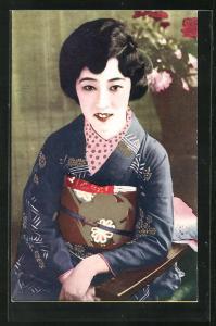 AK Portrait einer Geisha auf einem Stuhl