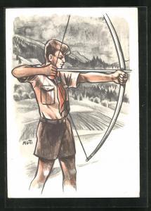 Künstler-AK Pfadpfinder-Knabe mit Bogen und Pfeil