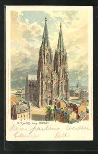 Lithographie Köln, Blick auf den Kölner Dom