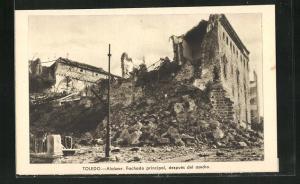 AK Toledo, Spanischer Bürgerkrieg, El Alcázar, Fachada principal, después del asedio