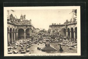 AK Toledo, Spanischer Bürgerkrieg, El Alcázar, Patio de Carlos V, después del asedio