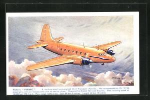 Künstler-AK Verkehrsflugzeug vom Typ Vickers Viking über den Wolken