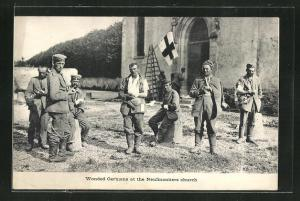 AK Wounded Germans at the Neufmontiers Church, Verwundete deutsche Kriegsgefangene