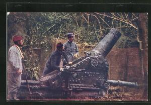 AK Französiche Artilleriesoldaten in Uniformen mit Kanone