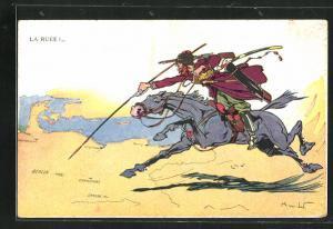 AK La Ruéé, Soldat auf Pferd, Propaganda Entente