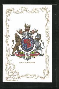 Künstler-AK United Kingdom, Dieu et Mon Droit, Wappen