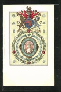 Künstler-AK Wappen Dieu et Mon Droit, The United Kingdom of Great Britain & Ireland, The Empire of India
