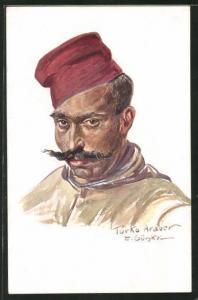 Künstler-AK Kriegsgefangener Turko Araber im Portrait