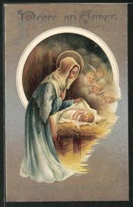 Künstler-AK Weihnachtsengel blicken auf Mutter und Baby an der Krippenwiege