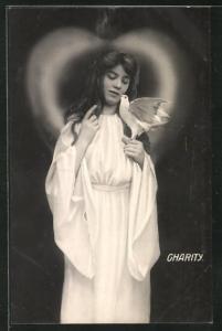 AK Allegorie, hübsches Mädchen mit weisser Taube auf der Hand, Charity