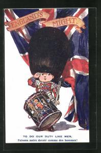 AK Englands Might, Kleiner englischer Trommler mit Bärenfellmütze