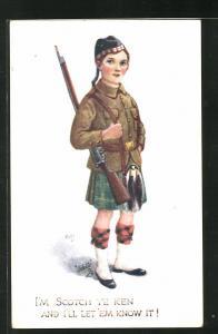 Künstler-AK Kleiner schottischer Soldat in Uniform