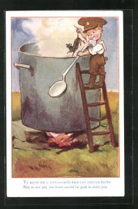 AK Kleiner englischer Soldat fischt eine Ratte aus dem Suppentopf