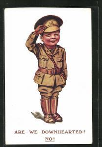 AK Are we Downhearted? No!, Kleiner englischer Soldat salutiert