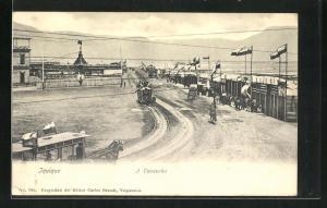 AK Iquique, A Cavancha, Pferdebahnen auf einer Strasse