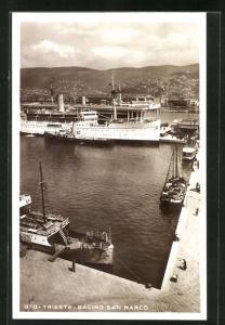 AK Trieste, Bacino San Marco, Dampfer Palestina im Hafen