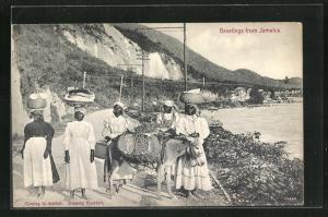 AK Jamaica, Ortspartie mit Einheimischen