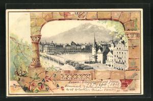 Präge-AK Luzern, Schwanenplatz und Pilatus aus der Vogelschau