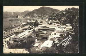 AK Manzanillo, Panoramablick auf den Ort