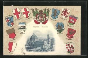 AK Firenze, Panorama und verschidene Stadtwappen