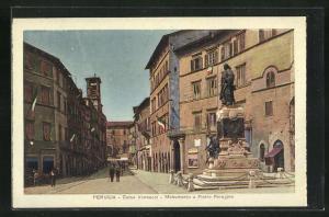 AK Perugia, Corso Vannucci, Monumento a Pietro Perugino