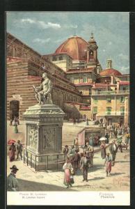 Künstler-AK Firenze, Piazza St. Lorenzo