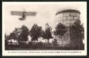 AK Locomotion Aerienne, Santos-Dumont, sur son monoplane Le Baby de St. Cyra Buc