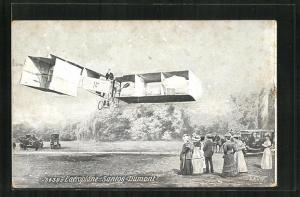 AK Flugzeug Santos-Dumont in der Luft