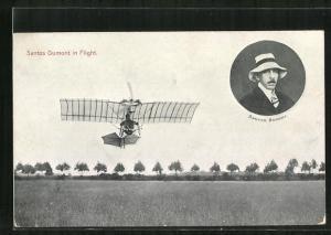 AK Santos Dumont in Flight, Flugzeug und Pilot