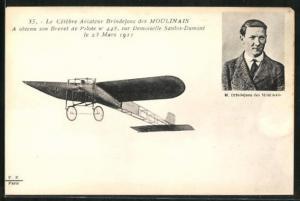 AK Pilot Brindejonc des Moulinais im Flugzeug vom Typ Demoiselle Santos-Dumont