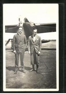 AK Flugpioniere Assollant and Lefevre vor ihrem Flugzeug