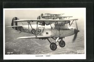 AK Staffel englischer Kampfflugzeuge vom Typ Hawker Hart