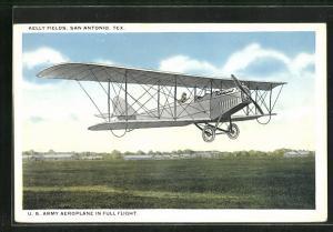 AK San Antonio, Tex, U. S. Army Aeroplane in full flight, Amerikanisches Flugzeug in der Luft