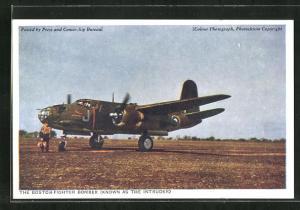 AK The Boston-Fighter Bomber, Known as the Intruder, Kampfflugzeug auf dem Landeplatz