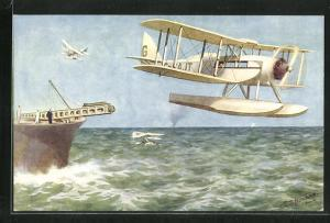 AK D. H. Seaplane launched from a catapult on board ship, Wasserflugzeug in der Luft